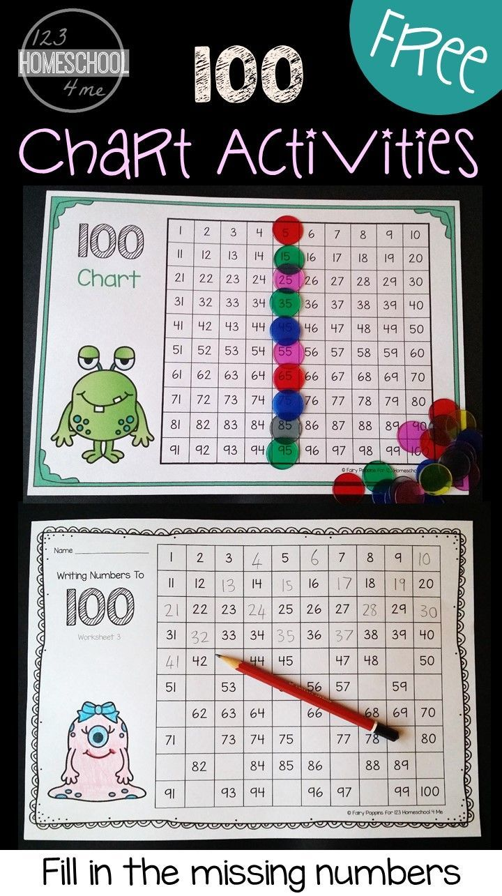 FREE Hundreds Chart plus chart activities and hundred chart worksheets perfect for helping kindergarten and first grade students learn to count to 100, see number patterns, and more. (math worksheets, hands on learning, homeschool)