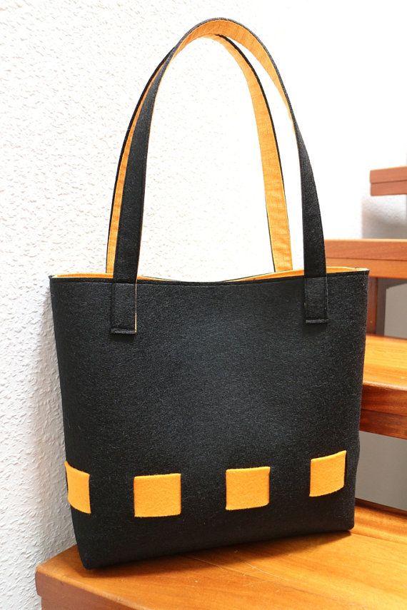 Shopper Elisabeth schwarz/orange  Felt bag Filztasche von Biandys