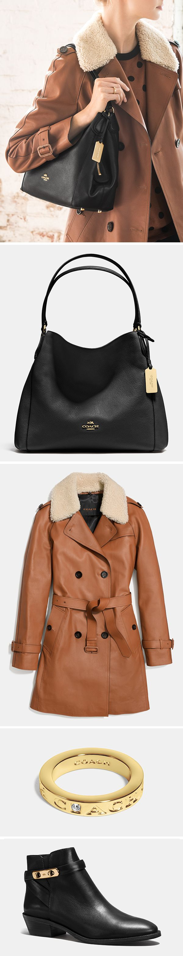 This black leather shoulder bag takes you from day to night with its easy shape and shiny hardware…any time of the year. We've made this look completely Coach with the Icon Leather Trench, gold bangles, and black booties.
