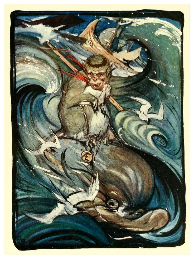 The Monkey and The Dolphin - The Fables of Aesop, 1909