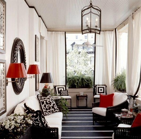 modern porch decor: Sun Porches, Black And White, Interiors Design, Colors Schemes, Black White Red, Sun Rooms, Front Porches, Sunroom, Red Black