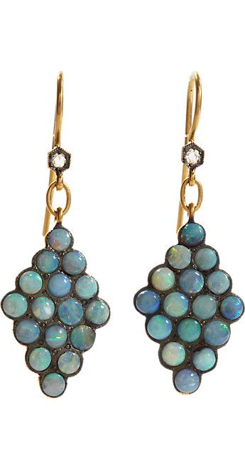 Cathy Waterman: Crafted from polished and blackened 22k gold, these scalloped drop earrings feature round white diamonds and boulder opal cabochons.