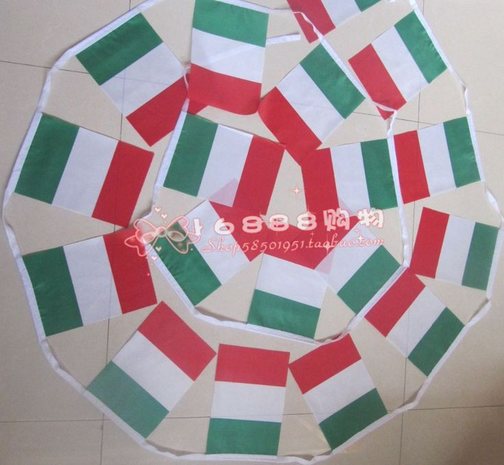 Spot Italian flag Italian flag string flags small flags 5 m 20 face 14 * 21CM home bar decoration quality polyester Free Shippin $6.89