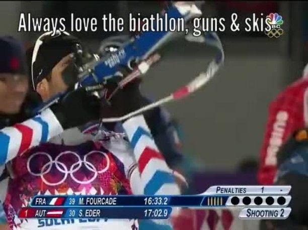 Always love the biathlon, guns & skis #NBC #XXIIWinterOlympics #ConnecTV