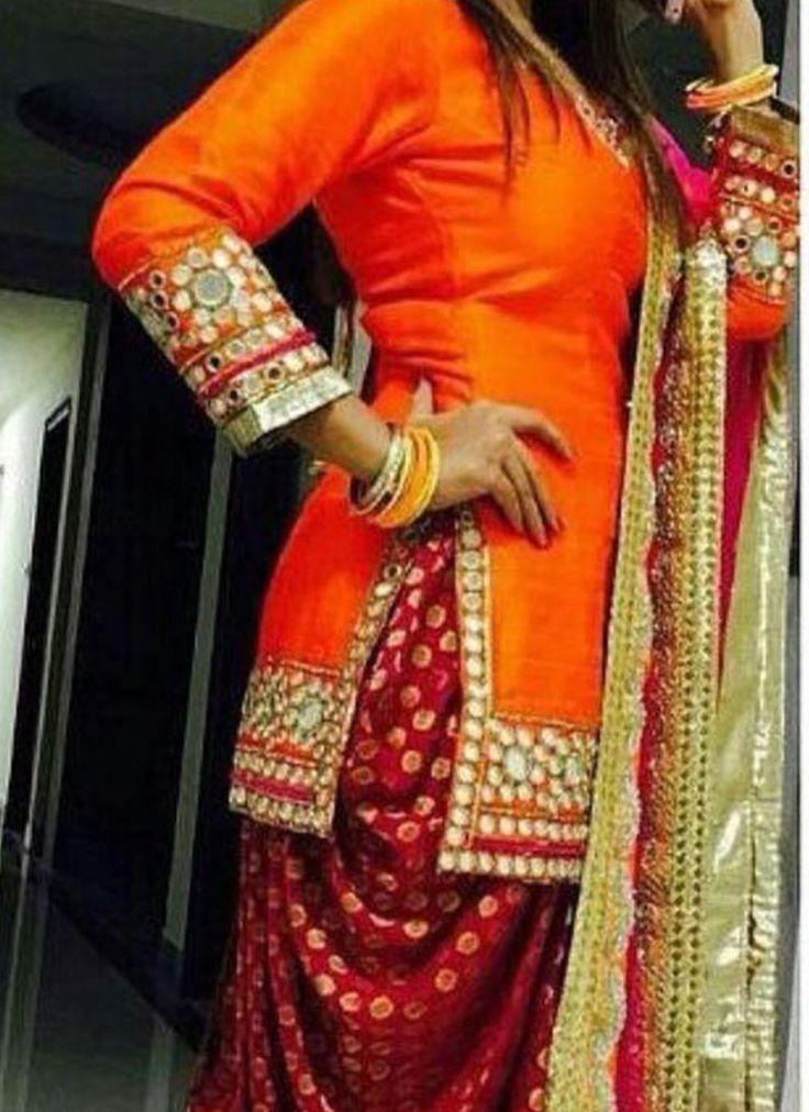 Orange and Maroon Mirror Work Punjabi Salwar Kameez at Zikimo 1