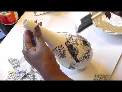 MOD PODGE BOTTLE USING VINTAGE NAPKIN | DECOUPAGE IDEA - YouTube