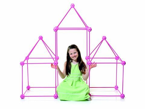 """Crazy Forts come with 69 child-safe toggles and rods that join together to build any play space, fuelling your child's imagination. Put the pieces together in different configurations, cover with bed sheets and """"voila!"""" kids have a unique new play space every time! For the young girl who may shy away from construction toys, Crazy Forts introduces the Princess Playset."""