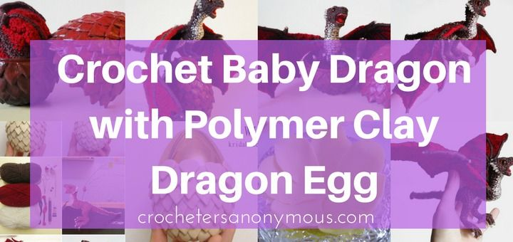 """Crochet Baby Dragon and Polymer Clay Egg (source)  How many works of crochet have you seen that are as extraordinary as this little crochet dragon tucked in its egg?  It's the creation of Kridah from Norway. Kridah refers to herself as a """"hobbyist."""" I think she's an artist. She's also a free-spirited Pokémon-phile who respects animals and the environment and loves to travel.  But I digress.   #crochet amigurumi dragon #crochet crafts #crochet dragon #diy dragon #diy"""