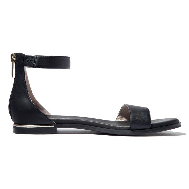 Cambelle Black Leather Sandal