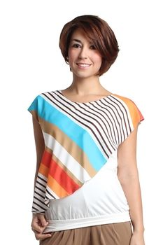 Cailey Woven Nursing Blouse in Multi Stripe by Spring Maternity with free shipping