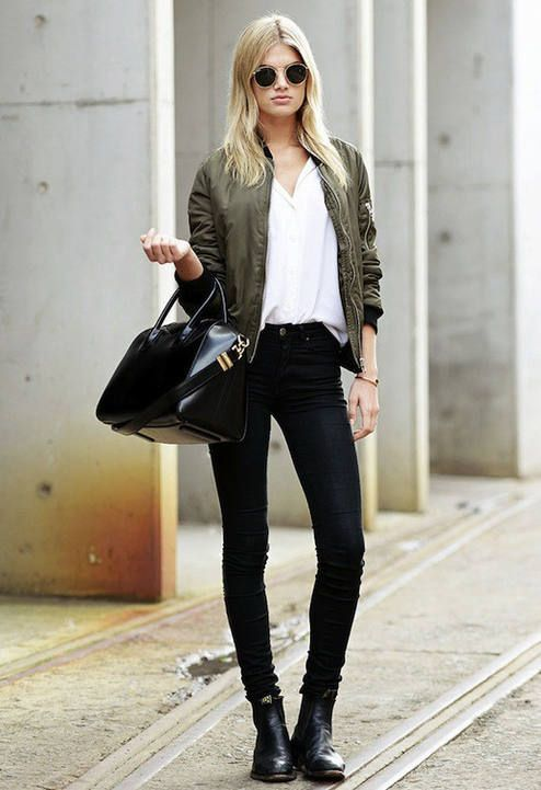 Le Fashion Megan Irwin Olive Bomber Jacket Downtown Cool Fall Streetstyle Inspo