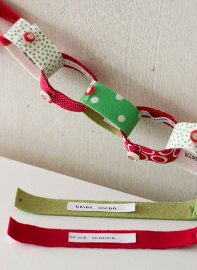 This fabric link chain is also an advent calendar, counting down to your wintry holiday of choice. Each link features a different activity to do that day -- go ice-skating, drink cocoa, etc.