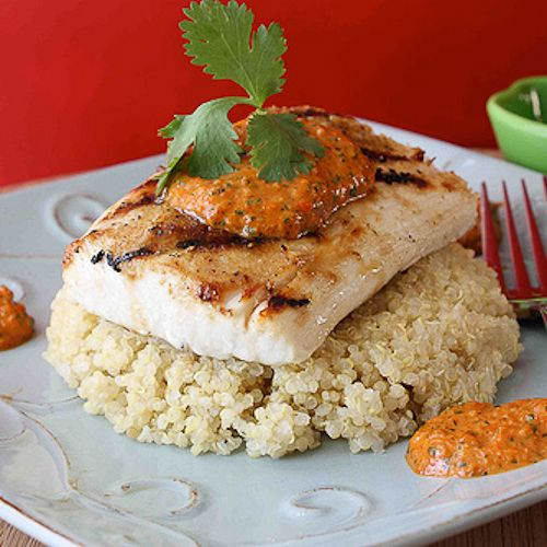 going to try this out for dinner tonight....Grilled Mahi Mahi with Red Pepper & Cilantro Pesto Recipe
