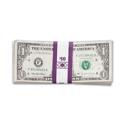 PM COMPANY Color-Coded Kraft Currency Straps, Dollar Bill, $50, Self-Adhesive, 1000/Pack Denomination/Amount: