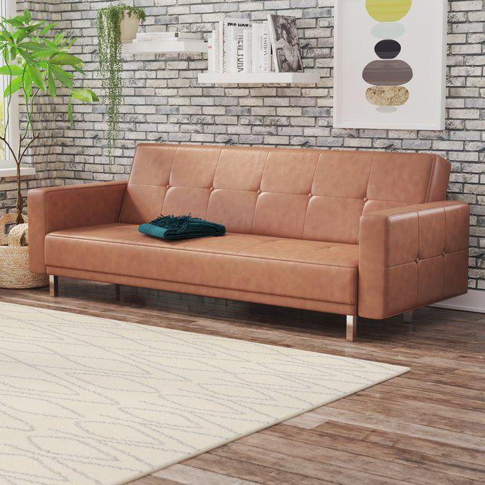 Graham Convertible Sleeper Reviews Allmodern Faux Leather