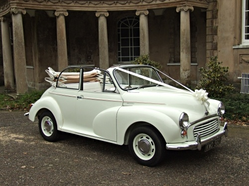 Wedding car, Morris Minor. My Grandad used to have one.