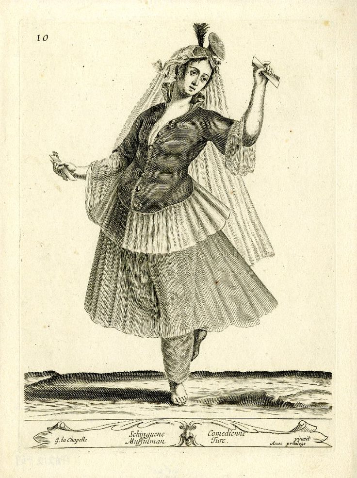 Turkish actress, dancing with some king of musical instruments in her hands, and wearing headdress with long veil, jacket, see-through skirt and baggy breeches; after La Chapelle. c.1648 Etching and engraving