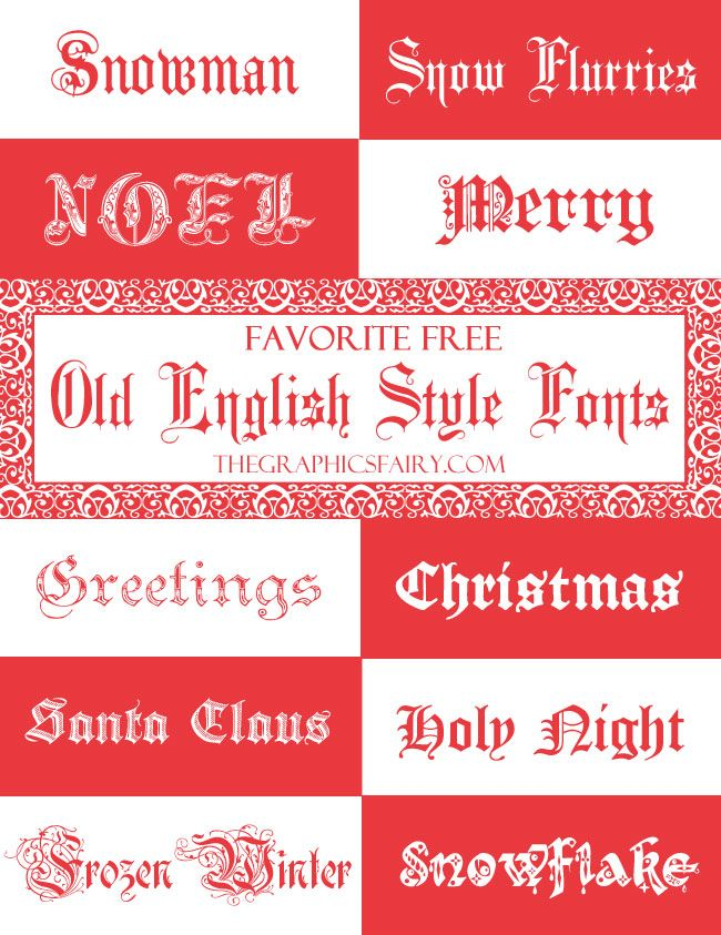 Favorite Free Old English FONTS - For the Holidays! - by Emily for The Graphics Fairy