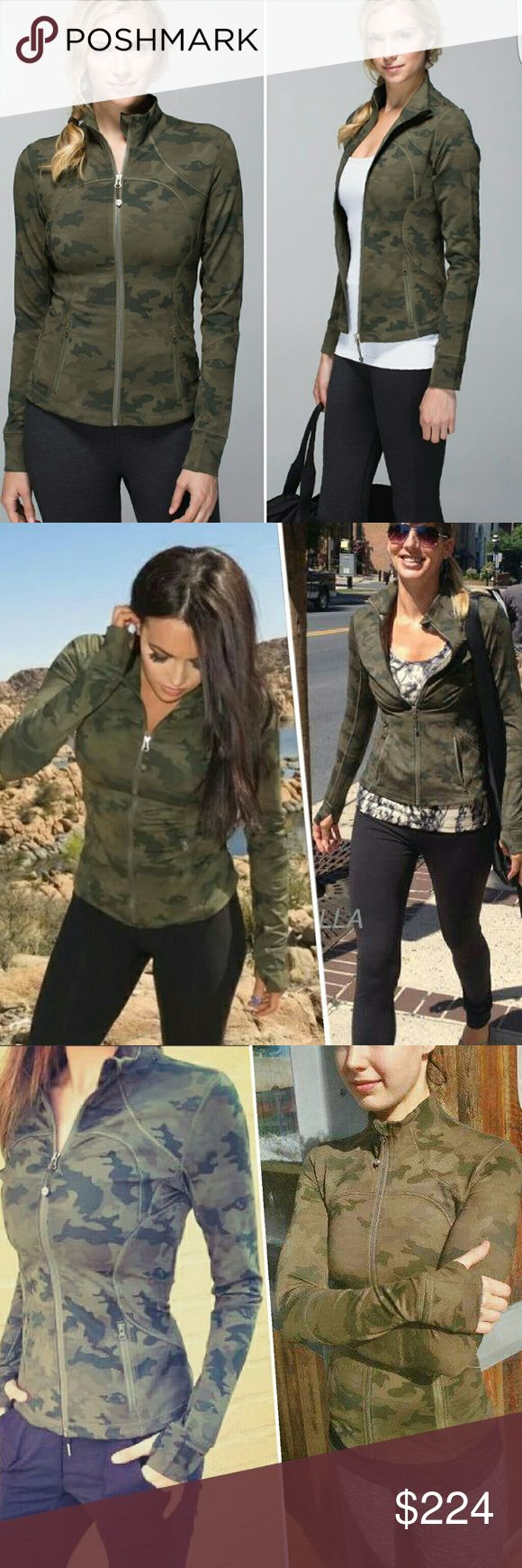 EUC Lululemon Army Green Camo Forme Jacket 2&4 XS Condition:Amazing.No pilling,stains,tears or damages.Very gently worn & well kept Color code:Fatg,milt,dkov,scfg Color:Fatigue,olive,sage,military,slate,wren,gator,tan, brown Pattern:Savasana cammo,camouflage Closure:Full zip up Fabric:Luon Style:Fitted,like define  Size&fit:True to size 4/fits like a glove,runs snug (for formes) enough to look good on 2 / inbetween 2-4 also.  Offers/price:Less on ???? (subtract f e e s) FIRM HERE…