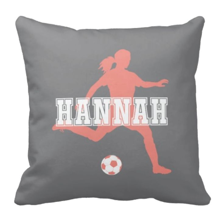 Custom Soccer Girl Throw Pillow With Monogram   Pool, Hot Pink And White    Choose ANY Colors. Soccer Themed BedroomsSoccer ...