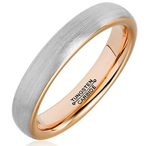 MNH Tungsten Rings for Men Women 4mm Rose Gold Plated Brushed Matte Finish Wedding Band