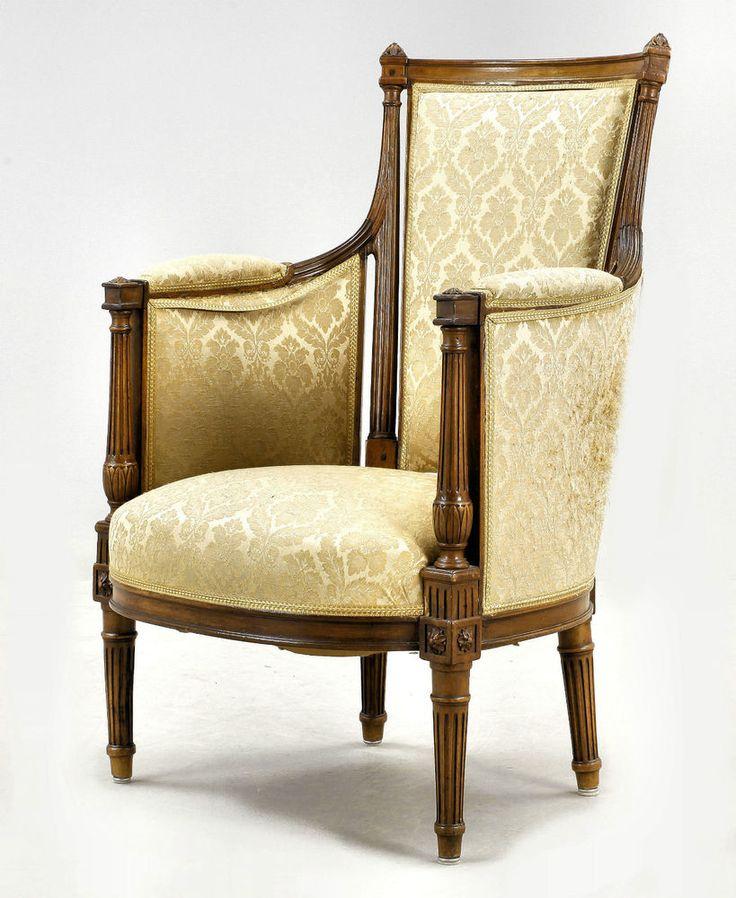 BERGERE LOUIS XVI 1780 FRANKREICH GEST. GONTAT Barock Sessel Stuhl Armlehnstuhl