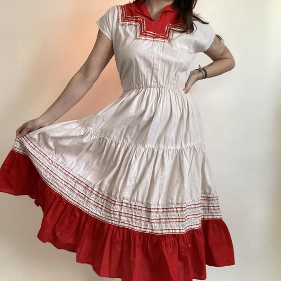1950/'s Pom Pom Fashions Tiered Circle Skirt Country Western Red White Silver Square Dancing Dress Ladies Medium