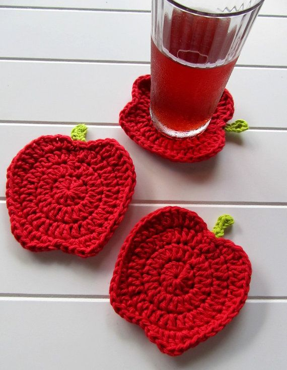 PATTERN: Crochet Red Apple Coasters inspired by by JessesMomus