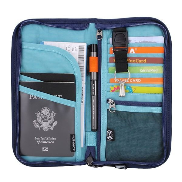 Travel Wallet//Organizer /& Family Passport Holder w//RFID Blocking /& Wristlet Black