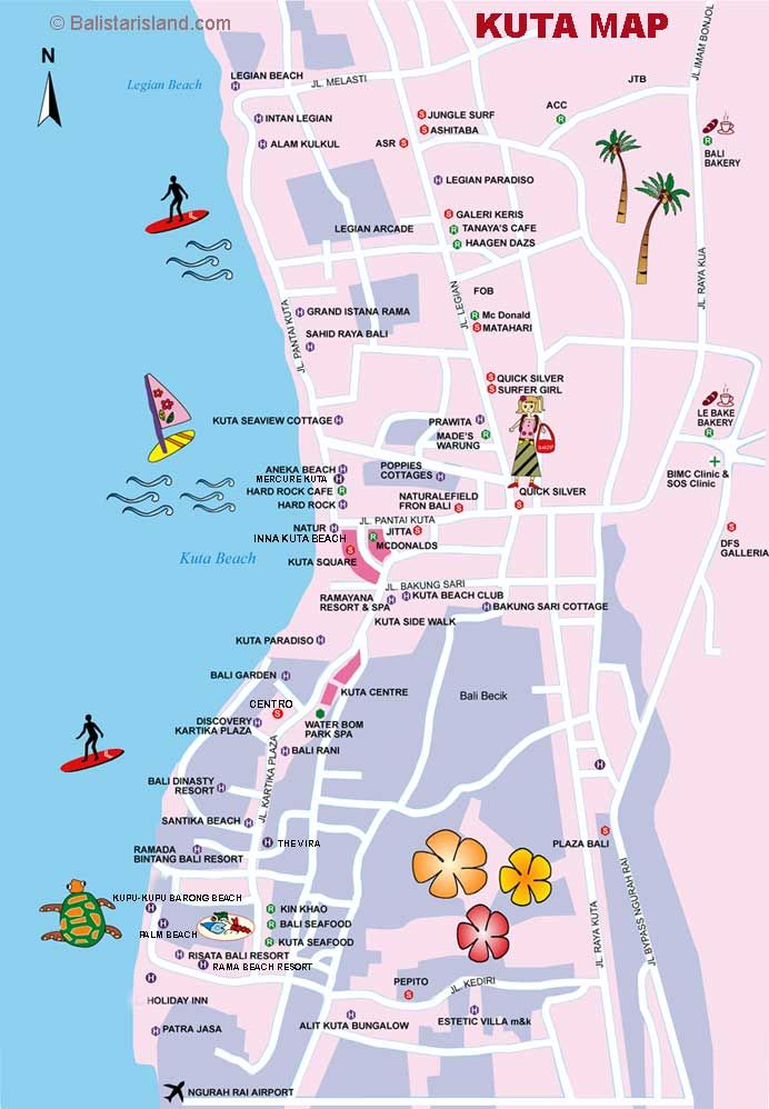 Kuta Map, Bali Map Information, Travel Guides