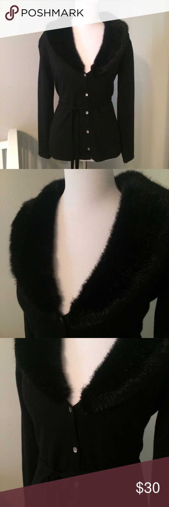 Faux Fur Collar Cardigan From Eddie Bauer, a nice black cardigan with a fun faux fur collar that wraps around the back. Comes with a removable tie around the waist. Excellent condition- no fading, holes, stains. Eddie Bauer Sweaters Cardigans
