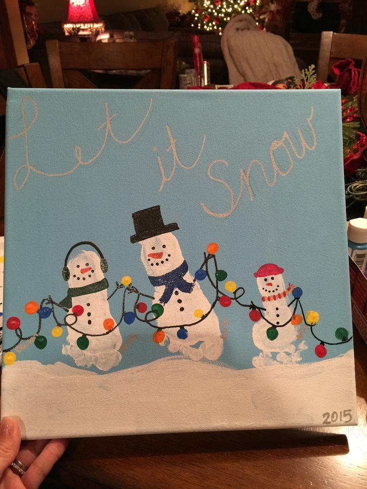 Snowman Footprint canvas art