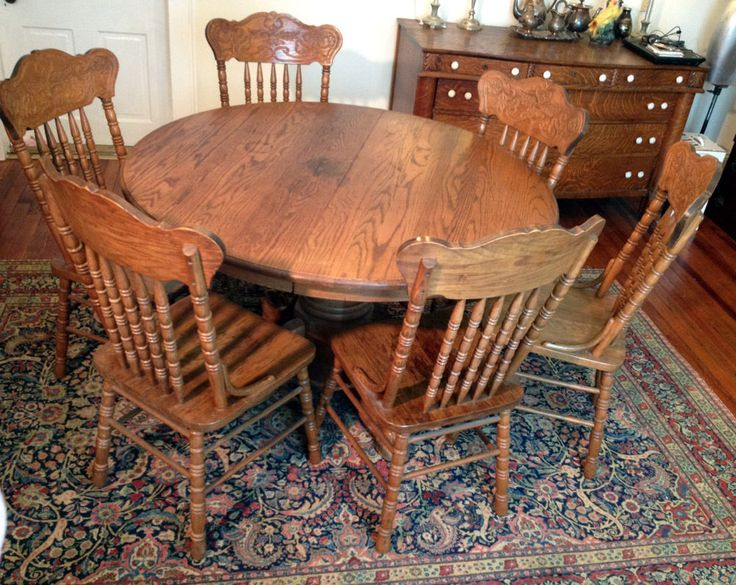 Vintage Round Oak Table Clawfoot 6 Pressback Chairs Dining