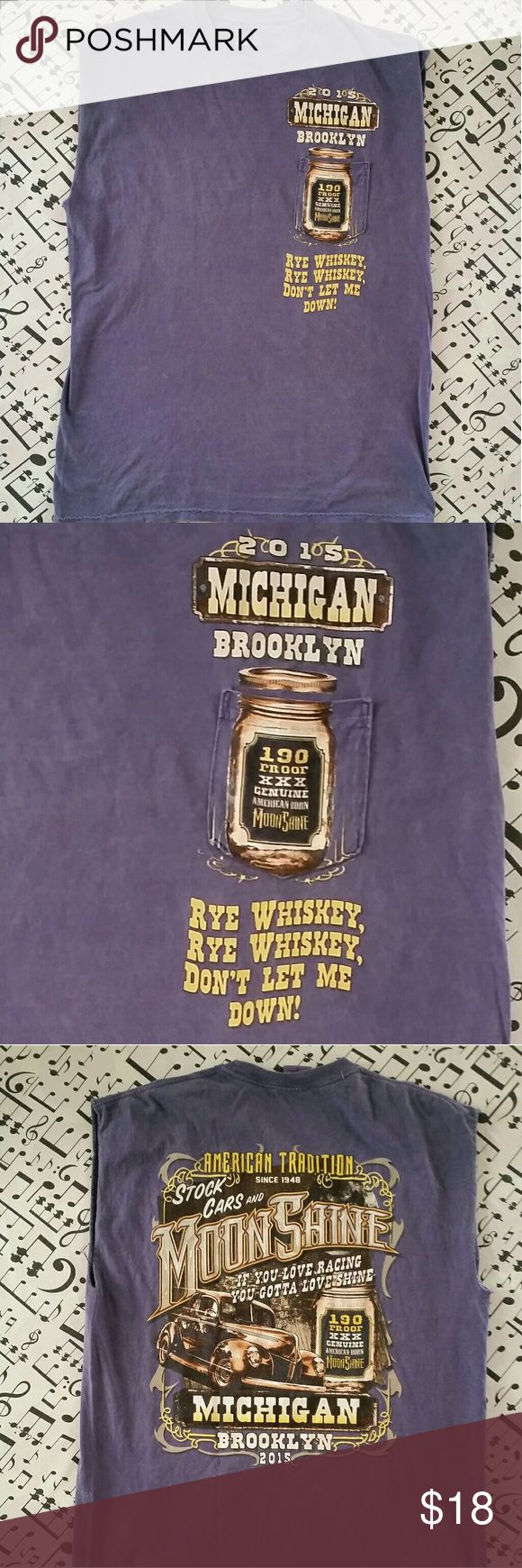 """Brooklyn Michigan Stock Cars and Moonshine Cool Mens Tank Top featuring Brooklyn Michigan Stock Cars & Moonshine 2015 Good Condition Size L Measures 23"""" pit to pit and 31"""" from shoulder to bottom  #rockandrollclothing #rockclothing #brooklynmichigantshirt Shirts Tank Tops"""