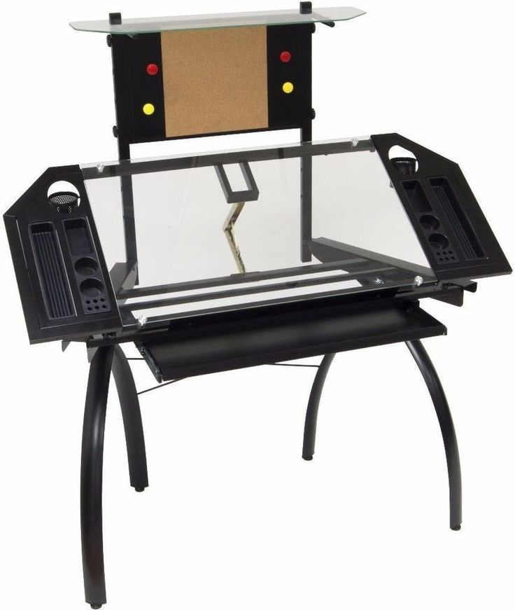 Glass Drafting Table with Magnet Board Home Office Furniture In Black New #table