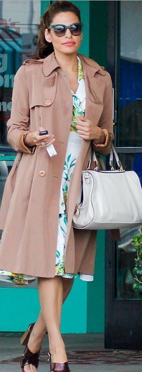 Who made  Eva Mendes' white print dress and green sunglasses?