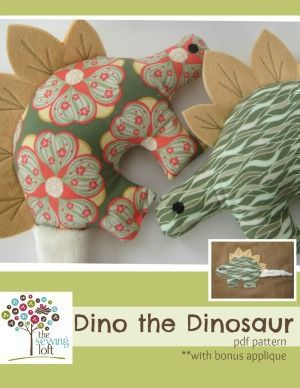 Download Dino the Dinosaur Softie Sewing Pattern   Featured Products   YouCanMakeThis.com