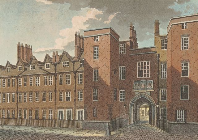 Lincoln's Inn Gate. Picturesque Views with an Historical Account of the Inns of Court in London and Westminster, 1800. Yale Center for British Art, Paul Mellon Collection.