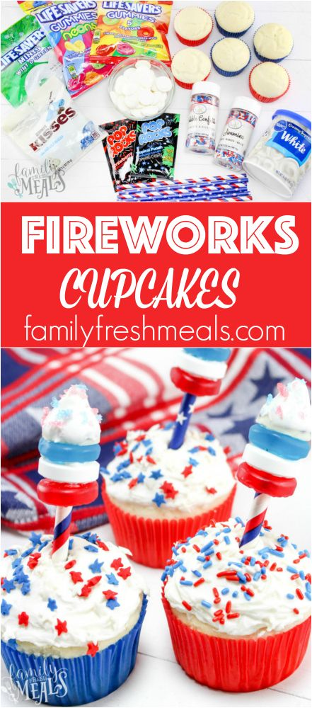 4th of July Fireworks Cupcakes Recipe -FUN- Family Fresh Meals