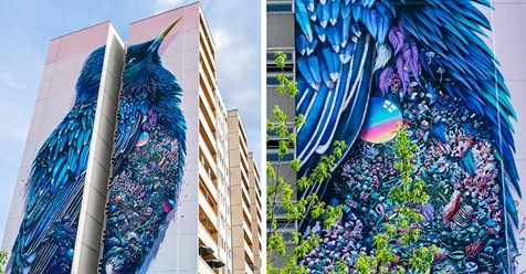 Giant Starling Mural In Berlin Filled With Tons Of Tiny Surprises