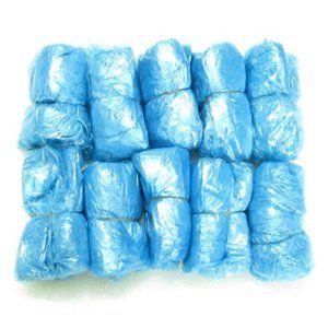 Chaussures en plastique jetables Couvre Tapis de nettoyage Sur-chaussures anti-poussière Bleu Lot de 50
