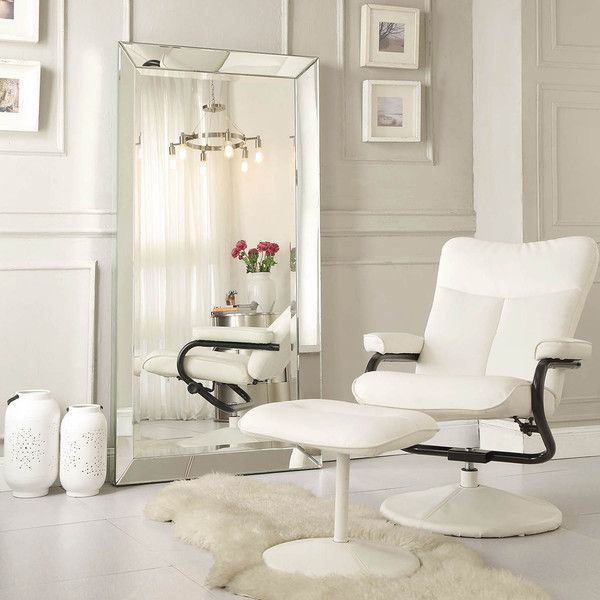 Omni beveled mirrored frame rectangular floor mirror by for Framed floor mirror