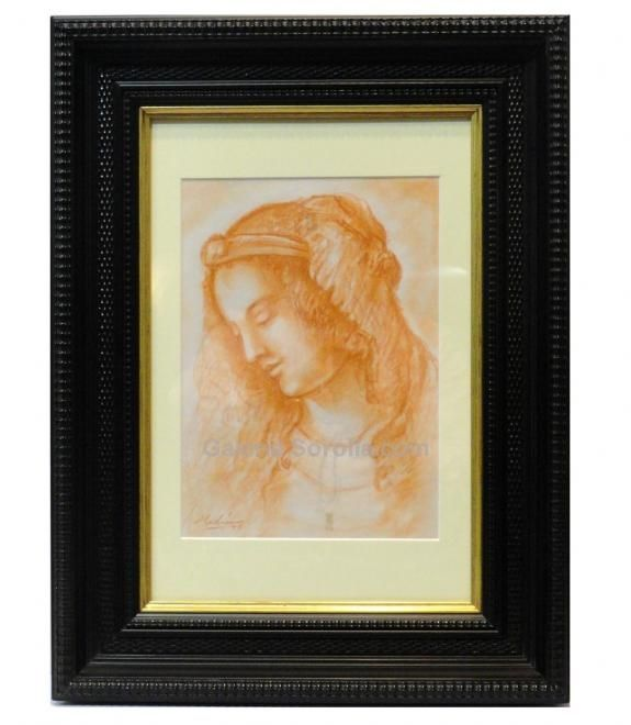 Medina : Figure. Medium: Drawing on card Measurements (cm): 45x35 Canvas measurements (cm): 25x18 Interior frame: No. Beautiful portrait of a woman. $155.07