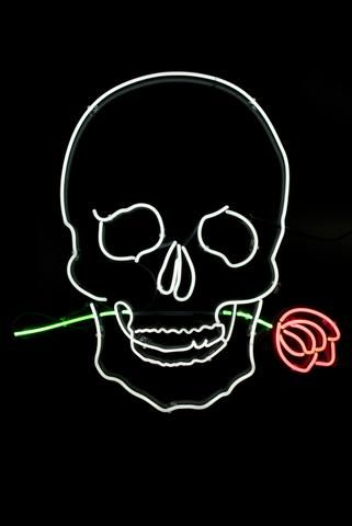 Pastel Black Skull with Rose Neon Sign