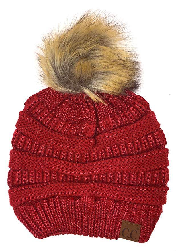 8a5e9cc03fd1f Plum Feathers Soft Stretch Cable Knit Ribbed Faux Fur Pom Pom Beanie Hat  (Metallic Red
