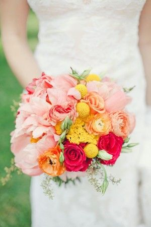 Pink and yellow bouquet ~ Bride :)