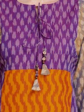 Multi Color Dori Detail Handloom Ikat Cotton Kurta by Jaypore