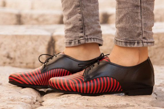 Leather Shoes Printed Oxford Shoes Close Shoes Flat door BangiShop