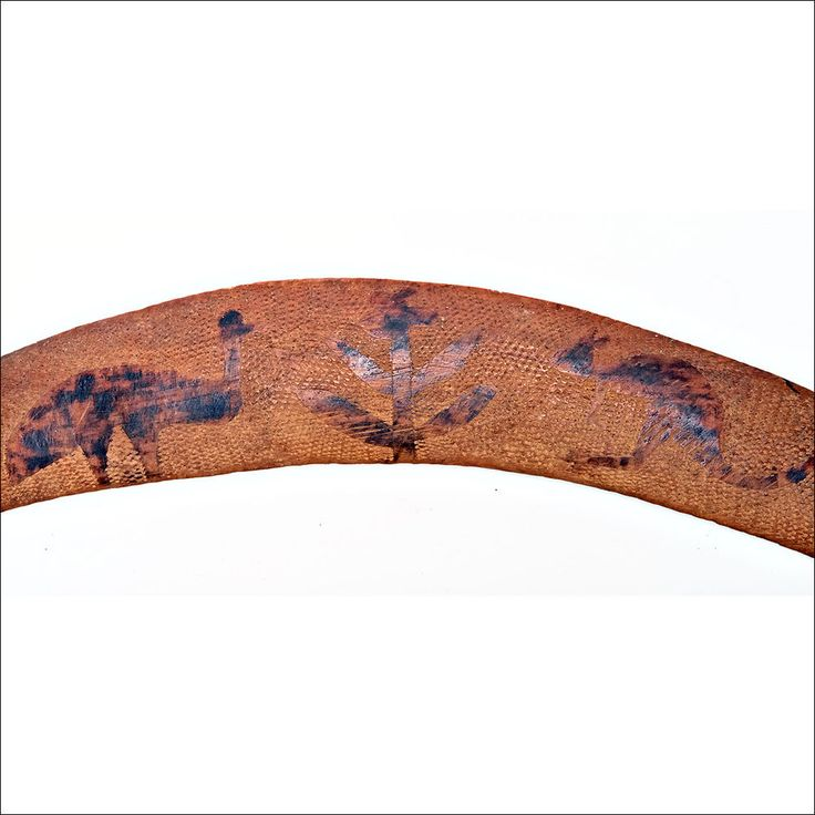 Vintage Aboriginal Transitional Boomerang with incised design kangaroo and emu