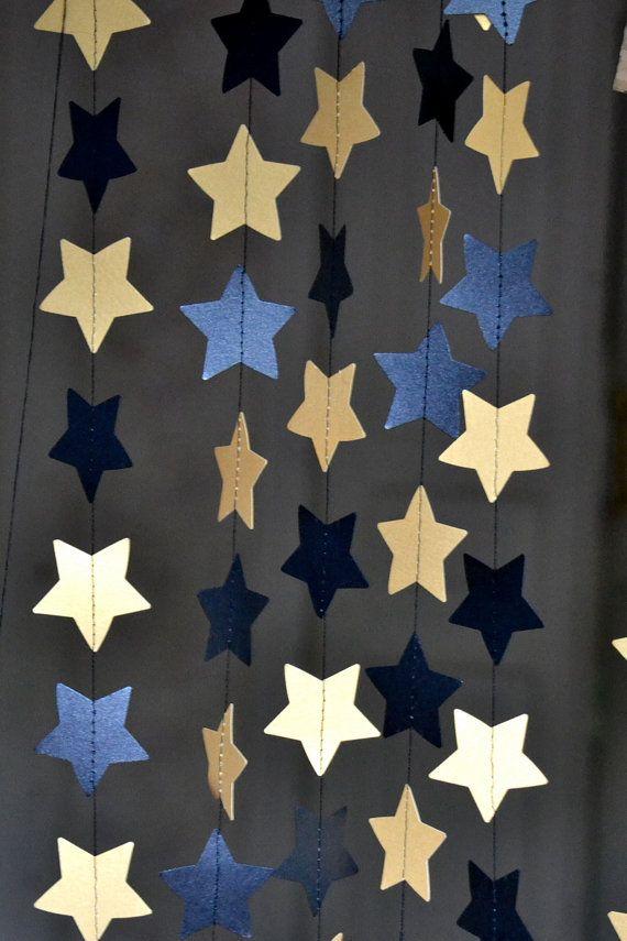 Black gold star garland Halloween decor Holidays by HappyPlywood